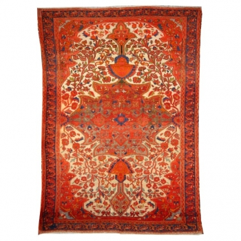 14953 Malayer antique rug 6.3 x 4.4 ft / 188 x 133 cm Beige Red Green
