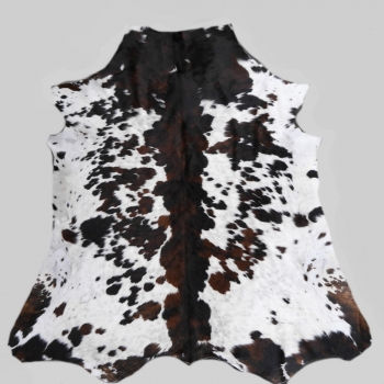 15224 Cowhide Rug XL Premium 8.3 x 7.0 ft cm Tricolor White Brown Black