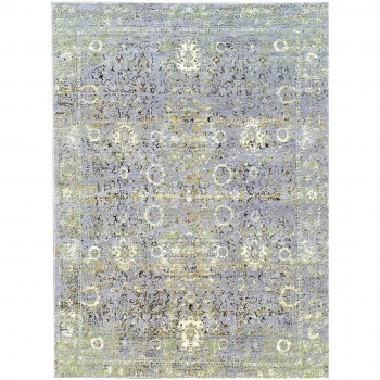 Modern design rug hand-knotted. Design: Abstract Collection: Anastasia by Djoharian Design Colors: beige, gray, blue Pile: fine virgin sheep's wool and viscose (bamboo silk) Size: Small accent format, 7 x 5 ft Knot density: 100 knots per square inch / 157