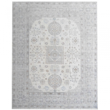15534 White Khotan Rug 12 x 15 ft Beige Grey Blue Vintage Look hand knotted wool