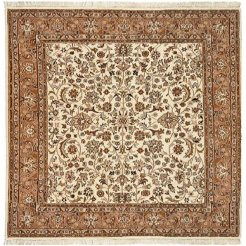 27201 Akbar carpet beige brown square 8.2 x 8.2 ft, 250 x 250 cm hand-knotted